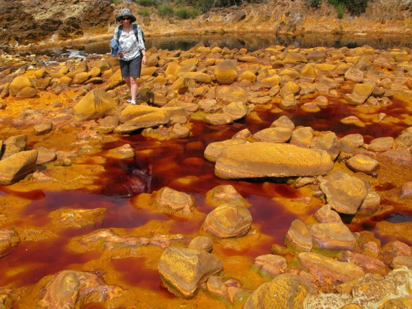 acid mine drainage Acid rock drainage (ard) or acid mine drainage refers to the acidic water which is created when sulphide minerals are exposed to air and water and, through a natural chemical reaction, produce sulphuric acid.