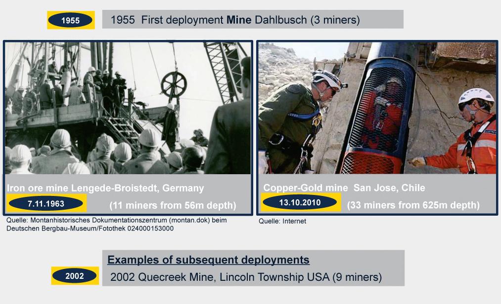 Fig. 1. Rescue missions with the Dahlbusch Bomb. Bild 1. Beispiele für den Einsatz der Dahlbusch-Rettungsbombe.