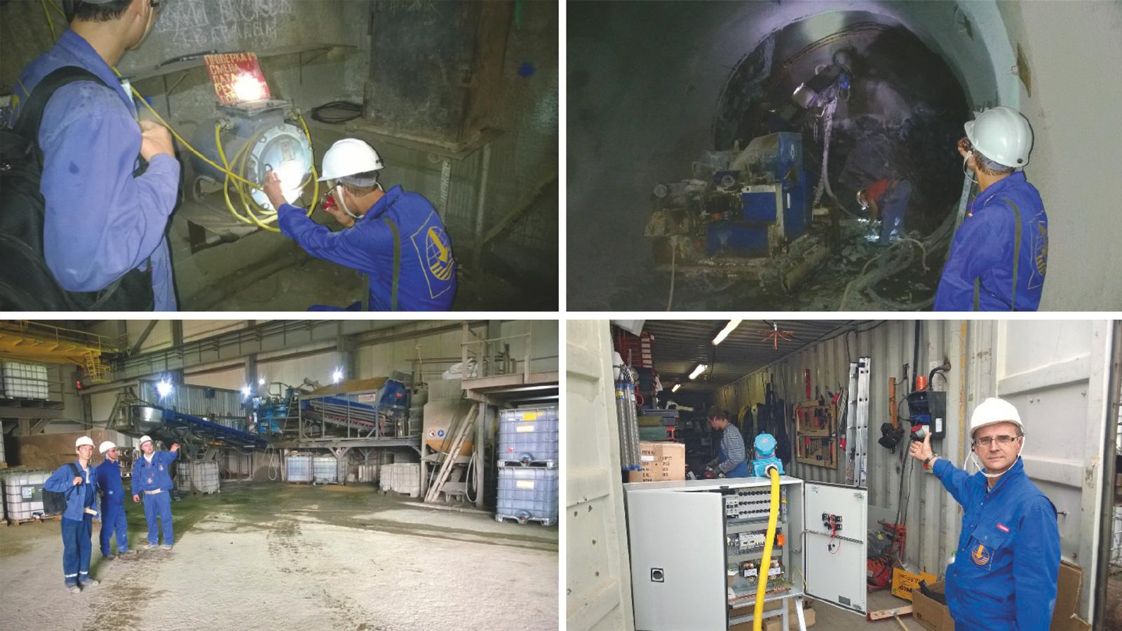 """Fig. 4. Site audit at the Donskoi GOK mine operated by SBK (Kazakhstan Shaft Construction). // Bild 4. Baustellenaudit auf dem Bergwerk Donskoy GOK der """"Schachtbau Kasachstan"""" (SBK). Photos/Fotos: THYSSEN SCHACHTBAU"""