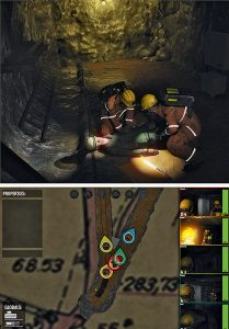 Fig. 5. Virtual mine rescue simulation with the Cinector-Engine. // Bild 5. Grubenwehrsimulator in der Cinector-Engine.