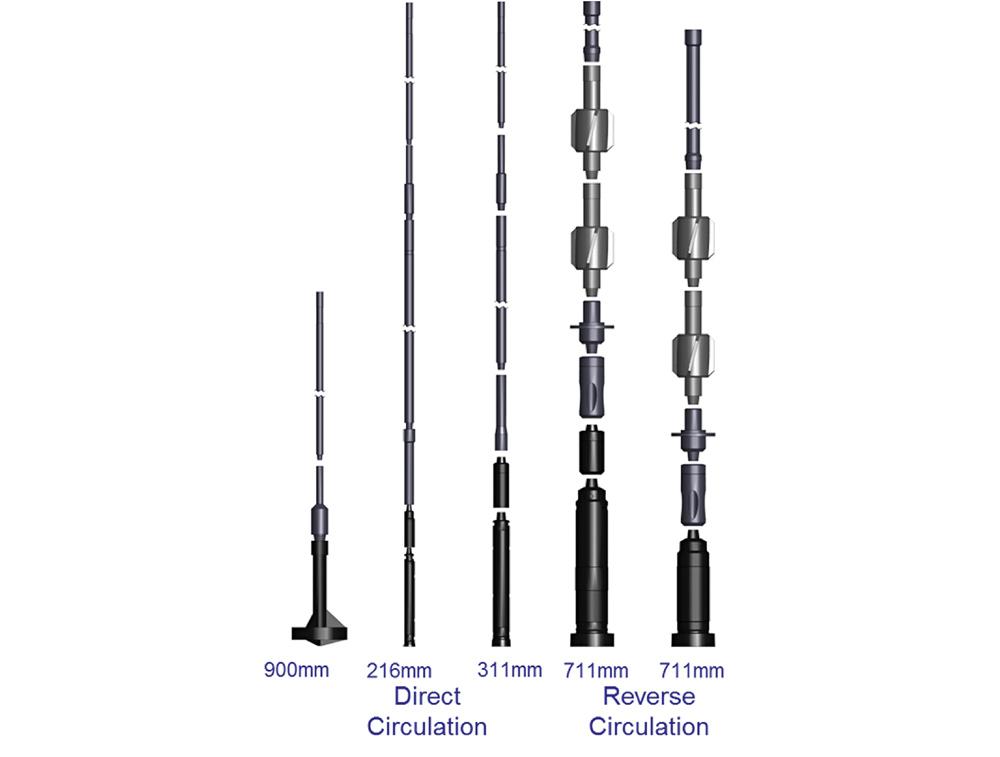 Fig. 4. Tools supplied as part of the drilling consignment Bild 4. Darstellung der zum Lieferumfang gehörenden Bohrwerkzeuge Source / Quelle: Prakla Bohrtechnik GmbH
