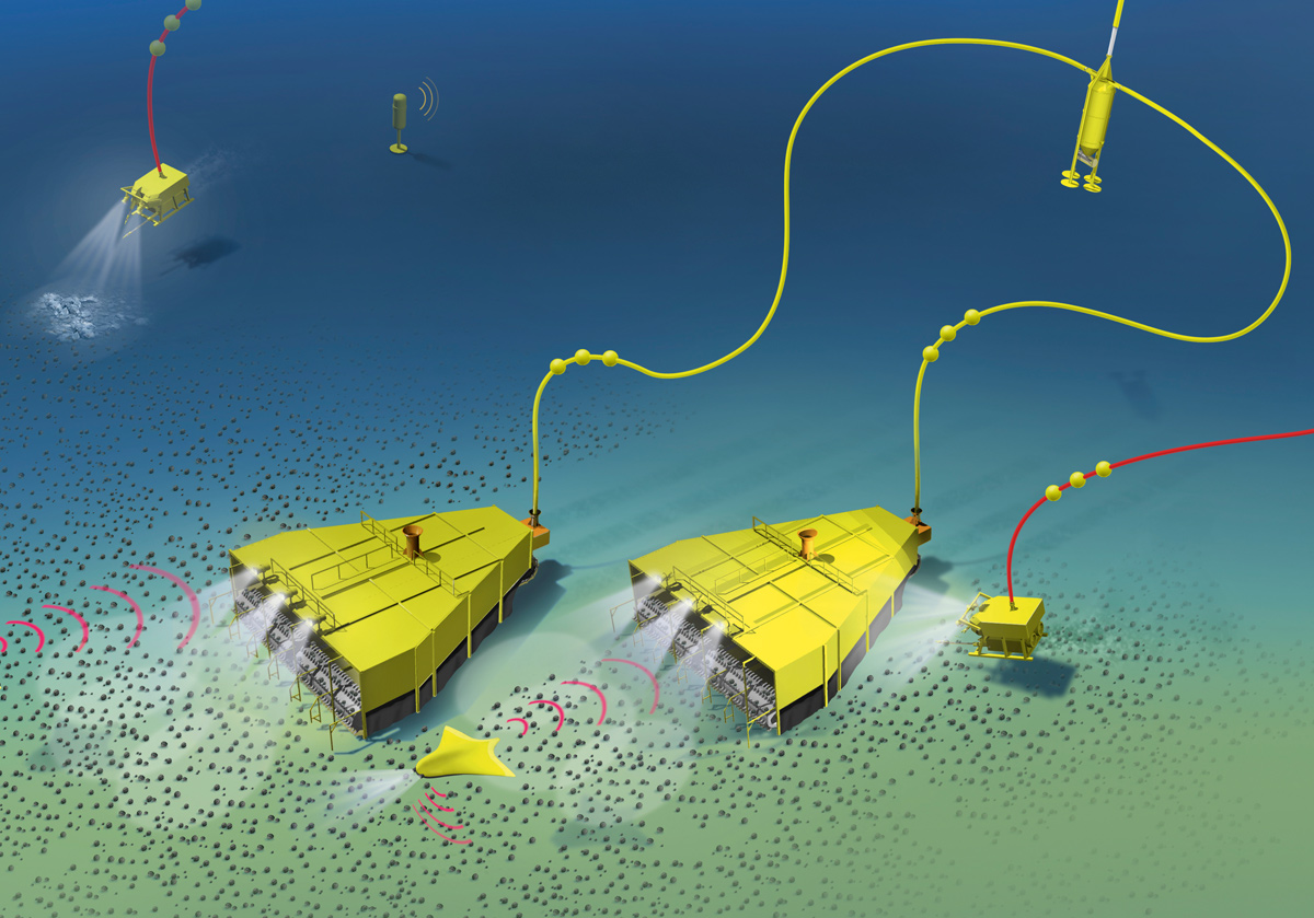 Fig. 5.  Two self-propelled collectors are winning manganese nodules from the seabed. The crushed nodules are pumped via flexible pipes to a temporary storage they both share (top right), from where the ore-water composite is pumped via tubing to the productionship. Source/Quelle: M.H. Wirth.