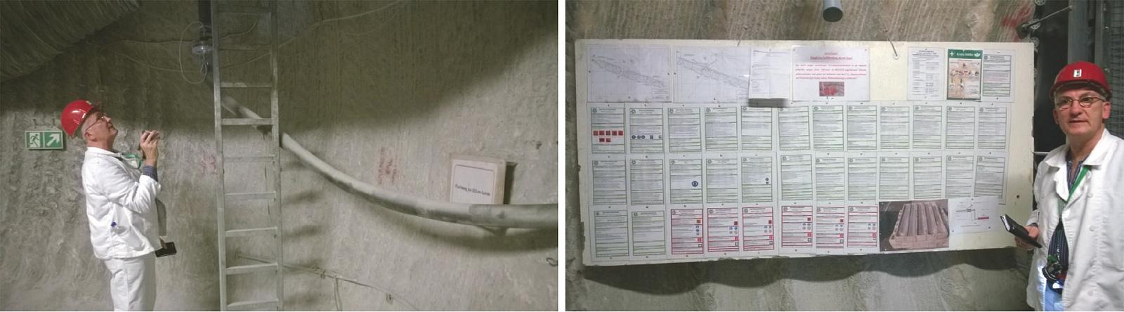 Fig. 3.  Site audit at an underground exploration drilling project, Asse mine. // Bild 3.  Baustellenaudit der untertägigen Erkundungsbohrungen auf dem Bergwerk Asse. Photos/Fotos: THYSSEN SCHACHTBAU