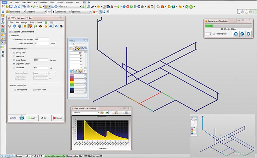 Fig. 2. Airflow and contaminant simulation in VentsimTM. // Bild 2. Nachbildung der Volumenstromverteilung und Schadstoffausbreitung in VentsimTM.