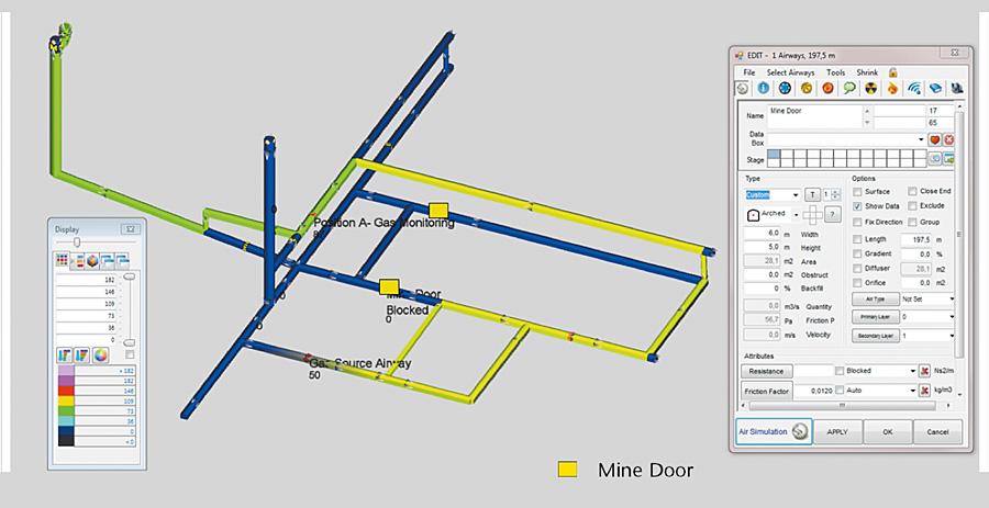 Fig. 9. Modified solution for gas dispersion in the mine network. // Bild 9. Modifizierte Gasverteilung innerhalb des Wetternetzmodells bei Verwendung eines Zusatzlüfters sowie von Wettertüren.