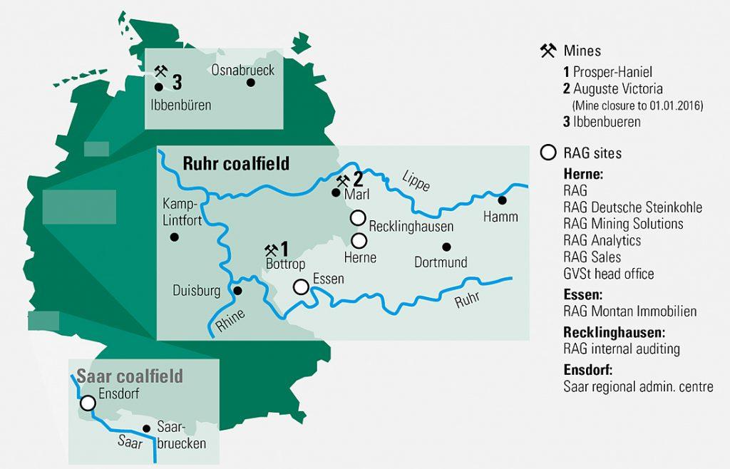 Fig. 1. Map showing the coalfields of the Ruhr, Saar and Ibbenbüren. // Bild 1. Karte der Steinkohlenreviere Ruhr, Saar und Ibbenbüren. Source/Quelle: GVST
