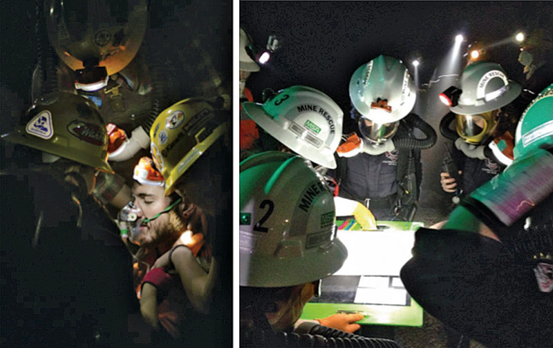 Fig. 4. Student Underground Mine Rescue Exercises at CSM / Edgar Mine. // Bild 4. Studentische Grubenwehrteams auf der Edgar Mine der CSM.